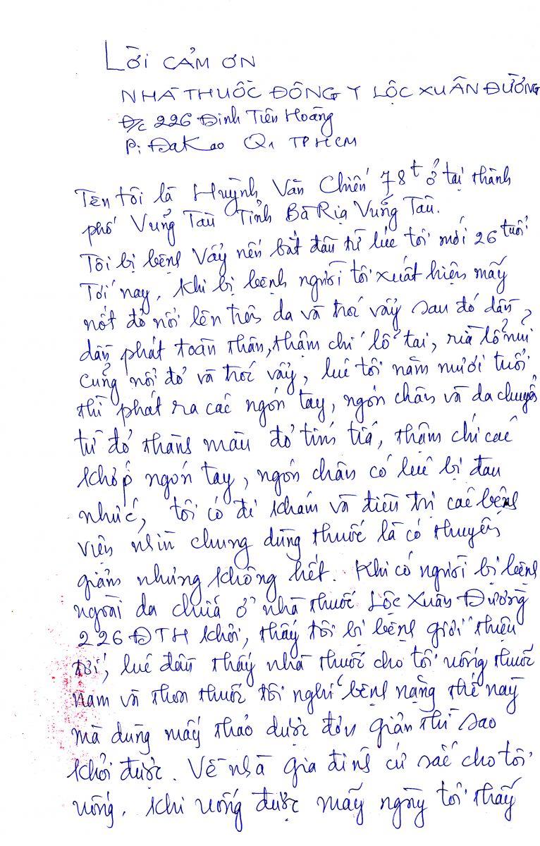 Lời cám ơn từ người bệnh Huỳnh Văn Chiến