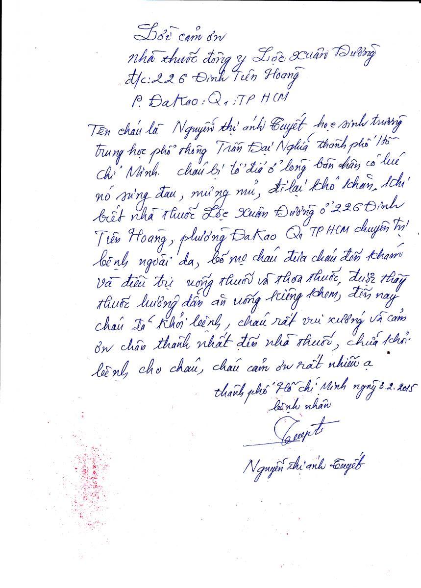 Lời cám ơn từ người bệnh Nguyễn Thị Ánh Tuyết